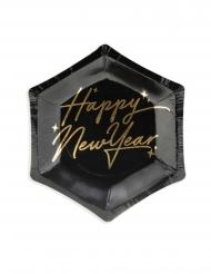 6 mini piatti in cartone neri Happy Birthday oro 12.5 cm