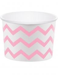 6 pirottini per cupcakes in cartone bianchi zig zag rosa
