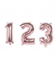 Palloncino alluminio numero rosa metallizzato