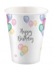 8 bicchieri in cartone palloncini pastello