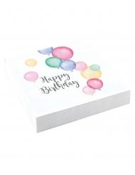 20 tovaglioli bianchi in carta palloncini pastello