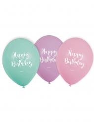 6 palloncini in lattice pastello Happy Birthday