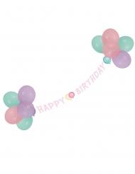 Ghirlanda pastello Happy Birthday con palloncini