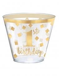 30 bicchieri in plastica 1st Birthday oro