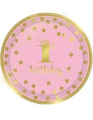 8 piattini 1° compleanno oro e rosa 18 cm