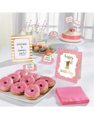Kit decorazioni per buffet 1st Birthday rosa