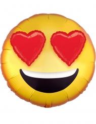 Palloncino alluminio emoticon con occhi a cuore