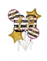Bouquet 5 palloncini alluminio 18 anni rosa e oro