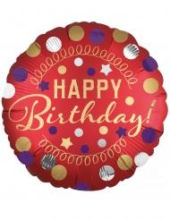 Palloncino alluminio rosso a pois Happy Birthday