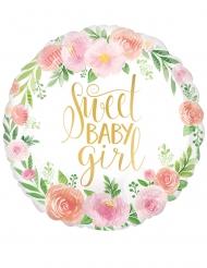 Palloncino alluminio con fiori Sweet Baby Girl