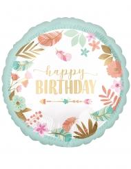 Palloncino alluminio Happy birthday menta e fiori