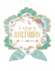 Palloncino alluminio fiori Happy Birthday verde menta