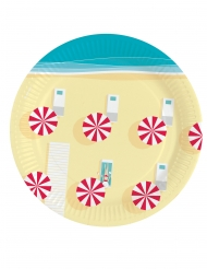 8 piattini in cartone ombrelloni in spiaggia 18 cm