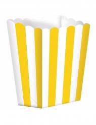 5 scatole da pop corn a righe bianche e gialle