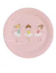 8 piattini in cartone piccola ballerina 18 cm