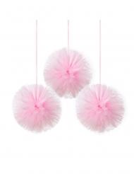 3 sospensioni con pon pon in tulle rosa