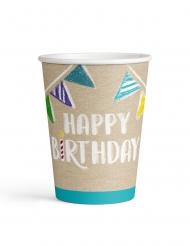 8 bicchieri in cartone Happy Birthday kraft e blu
