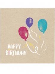20 tovaglioli di carta Happy Birthday kraft e blu