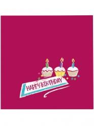 20 tovagliolini di carta Happy Birthday kraft e rosa