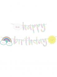 Ghirlanda Happy Birthday iridescente con nuvolette