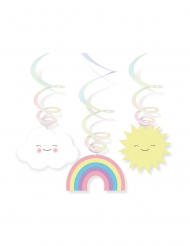 6 sospensioni a spirale con nuvoletta ed arcobaleno