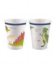 8 bicchieri in cartone grandi dinosauri