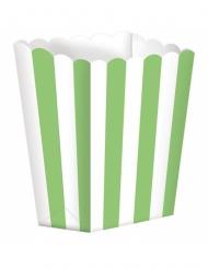 5 scatole da pop corn a righe bianche e verdi