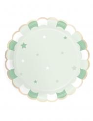 8 piatti in cartone smerlati verde pastello 23 cm