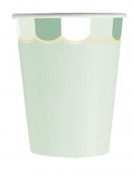8 bicchieri in cartone smerlati verde pastello