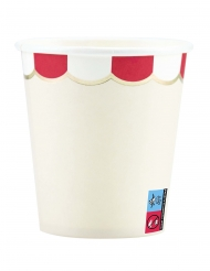 8 bicchieri in cartone smerlati rosso e avorio