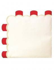 16 tovaglioli di carta smerlati rossi e avorio