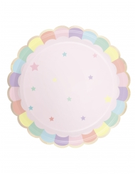 8 piatti in cartone smerlati rosa e pastello 23 cm