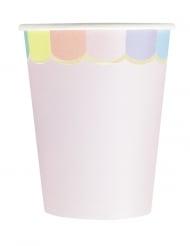 8 bicchieri in cartone smerlati rosa e pastello