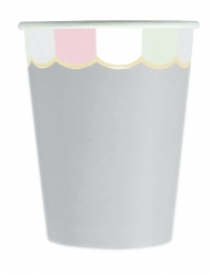 8 bicchieri in cartone smerlati grigio e pastello