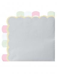 16 tovaglioli di carta smerlati grigio e pastello