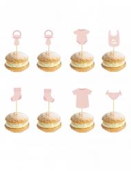 8 stecchini decorativi bebè rosa