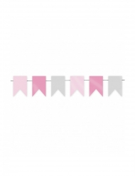 Ghirlanda con mini bandierine rosa e grige