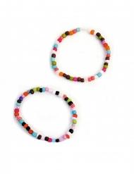 2 bracciali con perle multicolor