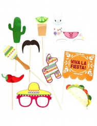 Kit photobooth 10 accessori fiesta messicana