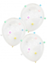 5 palloncini in lattice trasparente con pon pon colorati