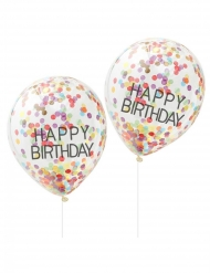 5 palloncini trasparenti Happy Birthday coriandoli