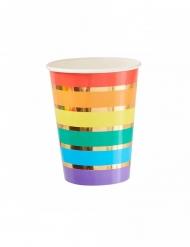 8 bicchieri in cartone righe arcobaleno