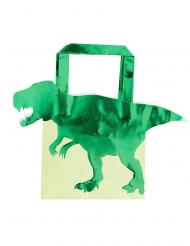 5 sacchetti regalo dinosauro verde metallizzato