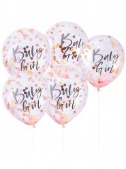 5 palloncini trasparenti con coriandoli rosa Baby Girl