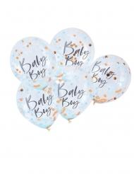 5 palloncini trasparenti con coriandoli blu Baby Boy