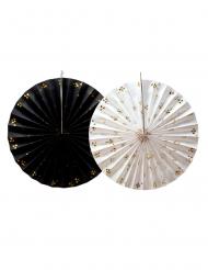2 rosoni di carta bianchi e neri triangoli oro