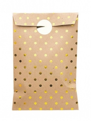 8 sacchetti in carta kraft con pois oro