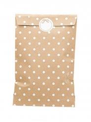 8 sacchetti in carta kraft con pois bianchi
