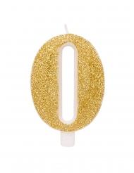 Candelina dorata e brillantini numero