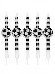 5 candeline calcio a righe nere e bianche